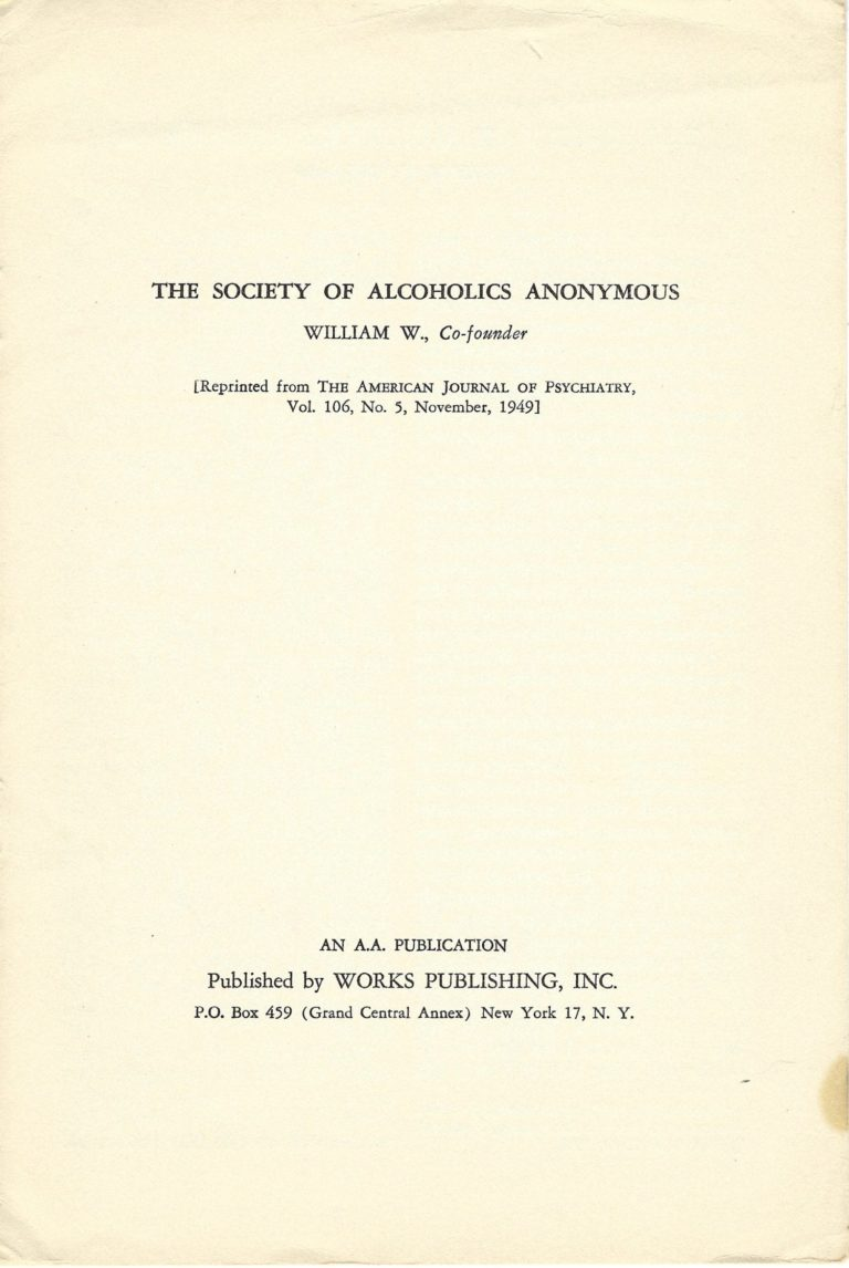 The Society of Alcoholics Anonymous