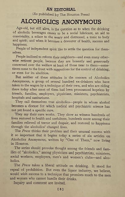 Editorial from the April 1940 AA Pamphlet